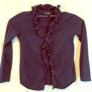 RL navy long sleeve ruffled button down shirt